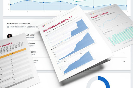 Google Analytics dashboard with mockups of SEO reports underneath