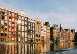 A sideview of homes in Amsterdam where a WE Local event took place