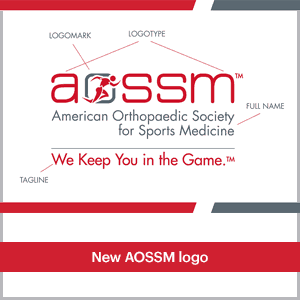 The American Orthopaedic Society for Sports Medicine (AOSSM)'s new logo (before rebrand)