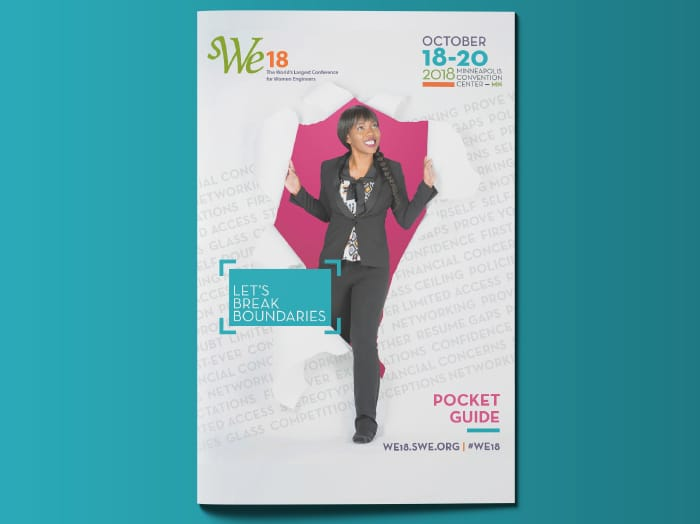 Society of Women Engineers' WE18 Event Marketing - pocket guide example