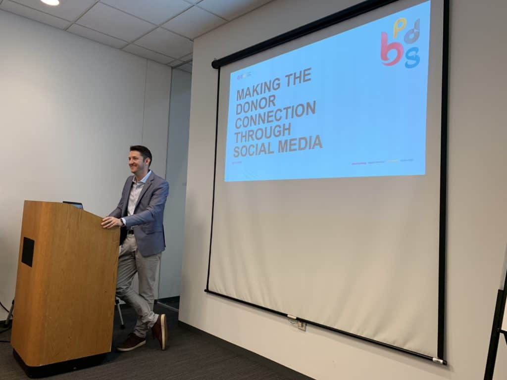 Drew Navolio discussing effective social media strategies