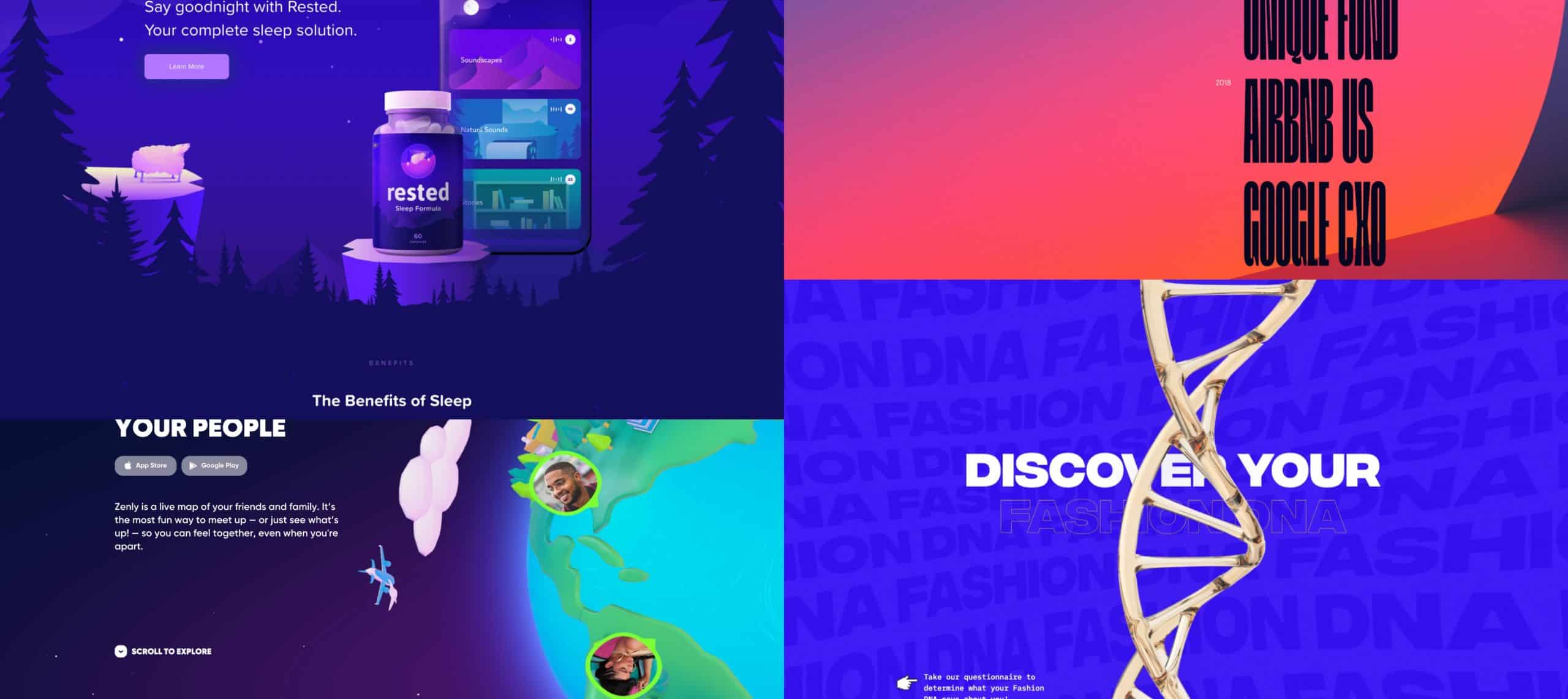 A collage of website screengrabs that use a luminous color scheme as a key trends in web design