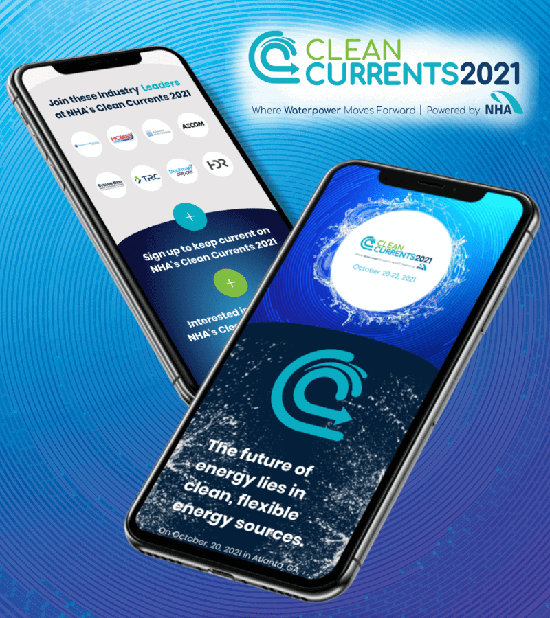 Image of the Clean Currents 2021 splash page as DJG partners with Conference Managers, Sponsorship Boost, and the National Hydropower Association