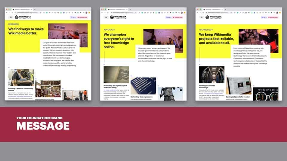 AFG Edge Virtual Conference 2020 Presentation - Foundation Branding - Brand Message Example - Wikimedia Foundation