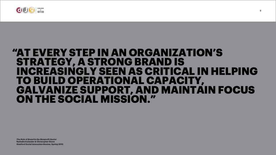 """AFG Edge Virtual Conference 2020 Presentation - Foundation Branding - """"At every step in an organization's strategy, a strong brand is increasingly seen as critical in helping to build operational capacity, galvanize support, and maintain focus on the social mission."""""""