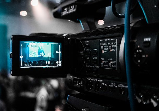 The view behind a video camera prior to producing a professional video